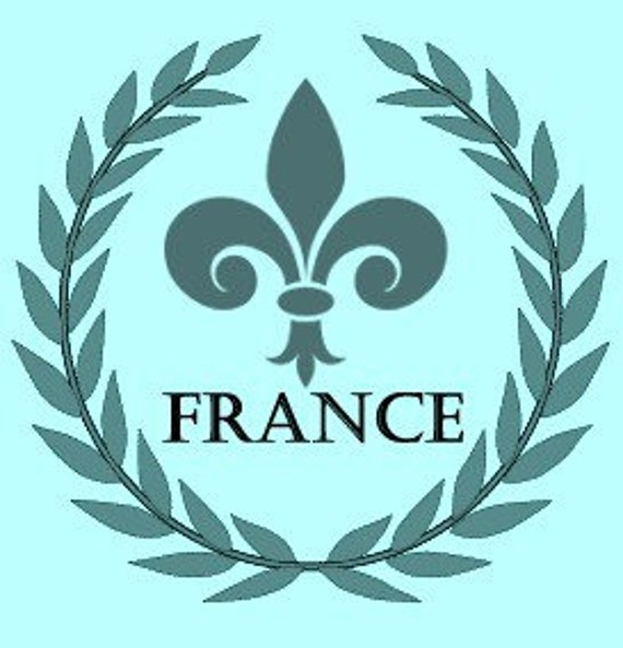 Fleur de Lis Laurel Wreath France Paris French Reusable