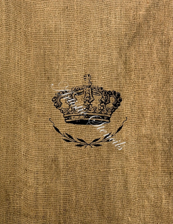 French Crown Burlap Feedsack Iron on Transfer Digital Download No 173 Tea Towels Pillows