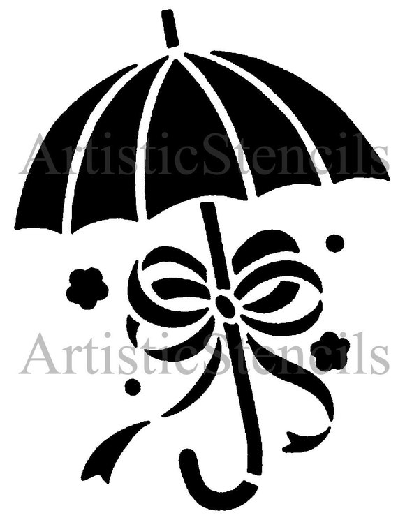 STENCIL Baby Shower Umbrella with Bow