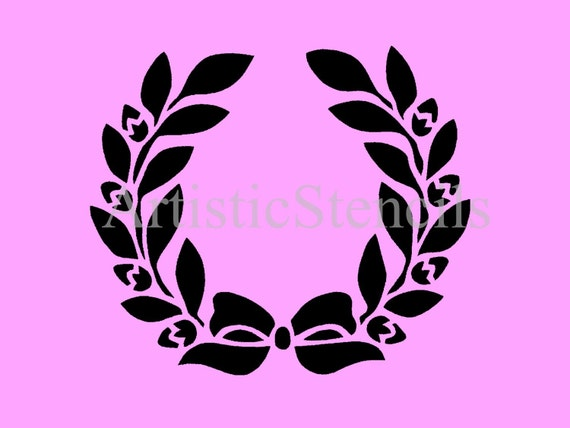 Floral Wreath with Bow Stencil