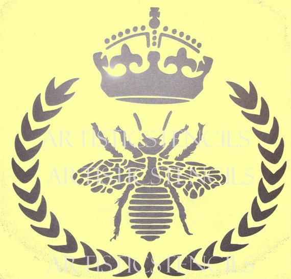STENCIL Queen Bee Wreath with Crown No 2 10x10