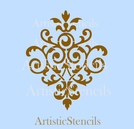 STENCIL Vintage Damask Wallpaper Background No 37 10x8