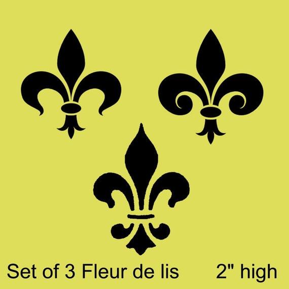 STENCIL Set of 3 Fleur de lis 2 inch