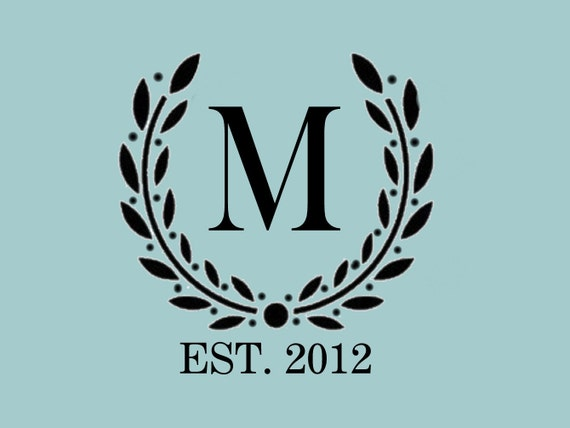 STENCIL Custom Your Initial Monogram Wreath   10x9