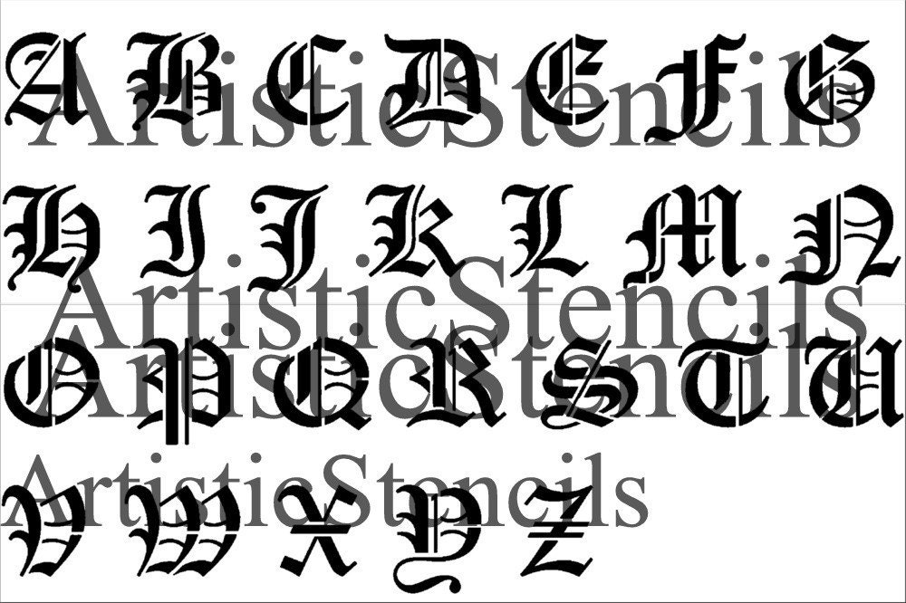 Image Gallery Old English Alphabet Stencil
