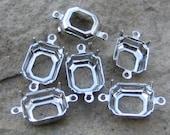 12x10 mm Silver Prong Octagon Rhinestone Setting 2 ring Qty 6