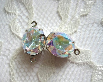 12x10 Swarovski Crystal AB Rhinestone Oval Mounted in Silver Prong Settings Qty 1 Pair
