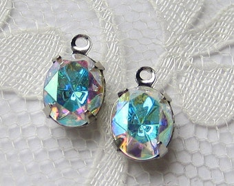 10x8 Crystal AB Swarovski Crystal Rhinestone in Silver Settings