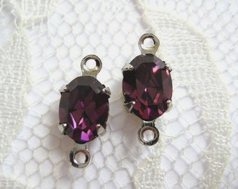 8x6 Swarovski Crystal Rhinestone Purple Amethyst Oval Stones In Settings Qty 2