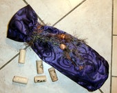 Wine bottle cover, case, purse, cork, purple, luminous fabric with tassels and beads ... Jewellgem on etsy