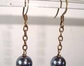 Gray / Silver Pearl Earrings Bronze Dangle Chain Earrings Antique Gold Earrings