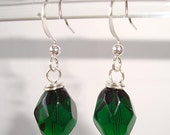Elegant Emerald Green Earrings Dangle Faceted Glass Earrings - Jewelry For A Dollar
