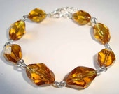 Elegant Amber Bracelet Faceted Beads Glass Bracelet