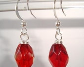 Elegant Red Earrings Dangle Faceted Glass Earrings - Jewelry For A Dollar