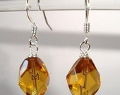 Elegant Amber Earrings Dangle Faceted Glass Earrings - Jewelry For A Dollar