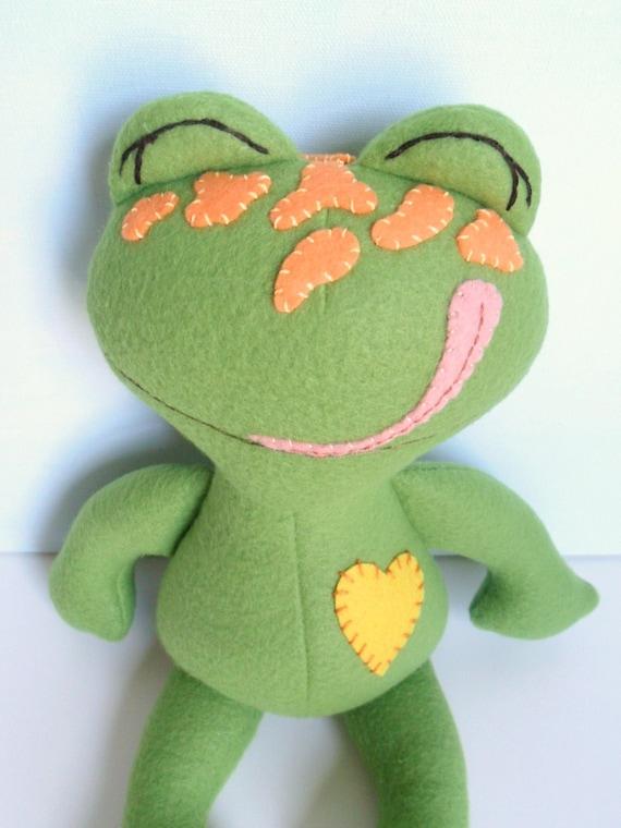 Kids - Baby & Toddler - Stuffed Toy - Frog Ragdoll - Pea Green w/Tangerine Spots - Glow in the Dark (Mini)