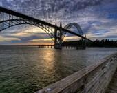 "Sunset Photograhy - Fine Art Photography - Photo Art - Oregon Coast - Newport Oregon - Bridges - 20 x 30"" - Metal Print"