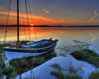 Photo Art - Sailboat Photography - Sunset Photography  - Sunset from Lopez Island - 12 X 18 - Metal Prints