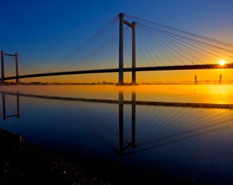 Bridge Photography - Bridges - Landscapes - Kennewick Pasco Suspension Bridge - 12 X 18 - pirnts - Columbia River, Bridge