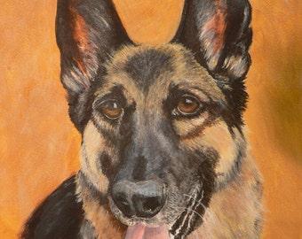 Custom Pet Portrait in Acrylic or Watercolor