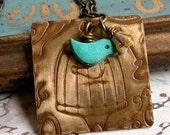 Vintage Birdcage Necklace,Bird Necklace,Etched Metal Necklace
