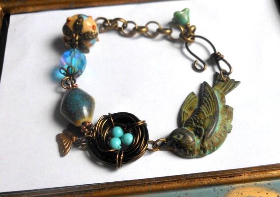 Birds Nest Bracelet,Lampwork Beaded Bracelet,Bird Jewelry