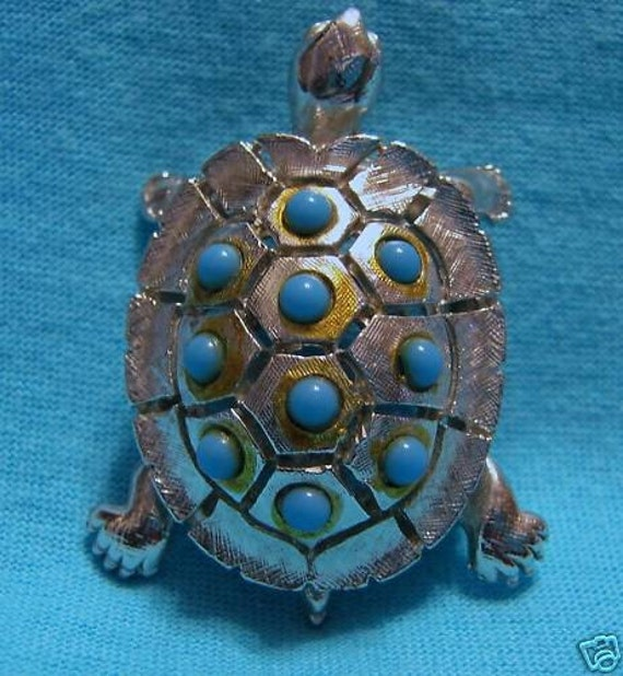 Fab Fake Silver Turtle Pin Brooch with Turquoise Beads