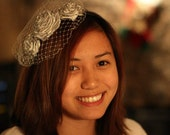 Three Flower Silver-Gray Headband
