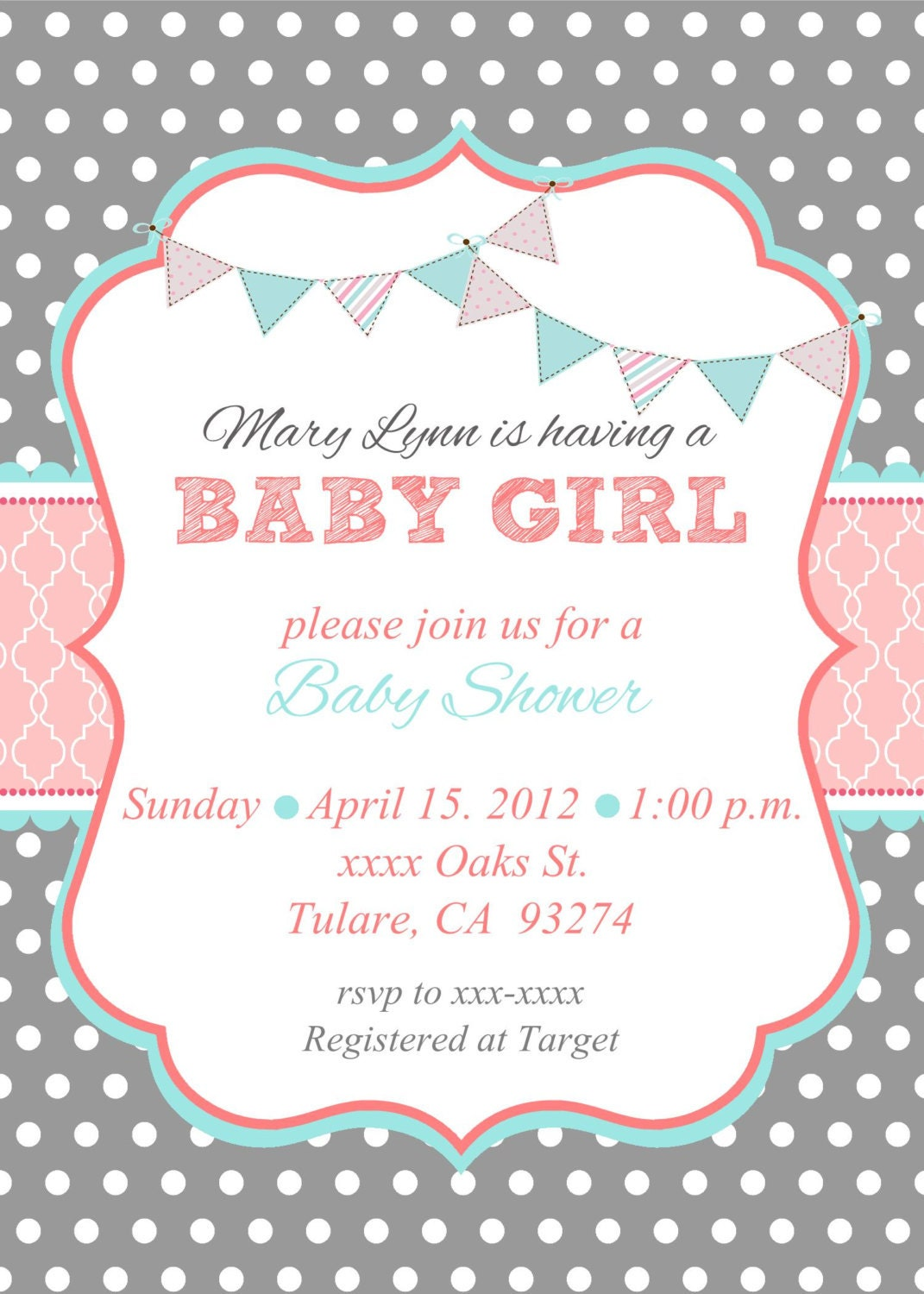 Baby Girl Shower Invitation by MMcardDesigns on Etsy
