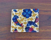 Vintage Change Purse -- Mustard Yellow, Blue & Red Floral Envelope Pouch