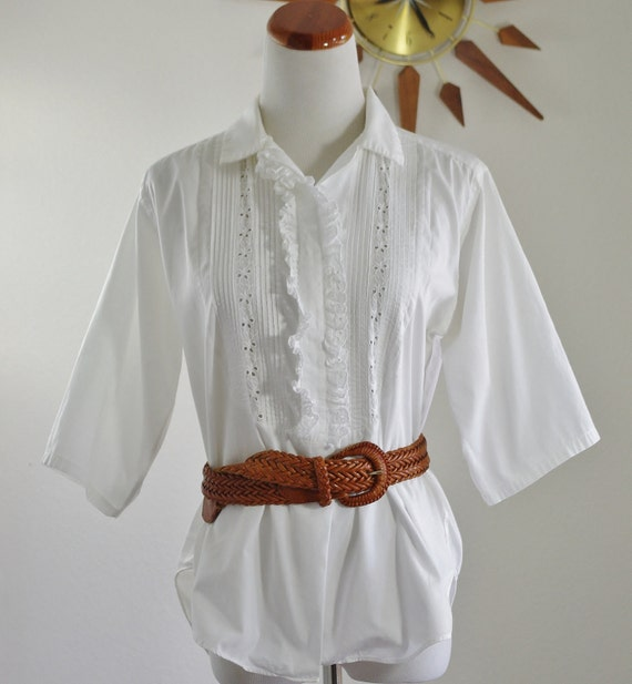 Vintage White Blouse // Eyelet & Ruffles Button Down // Large RESERVED FOR RHONDA