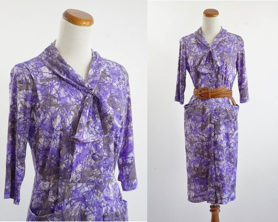 Reserved for Shirley--Vintage Day Dress -- Purple Gray Ascot Tie -- Large XL