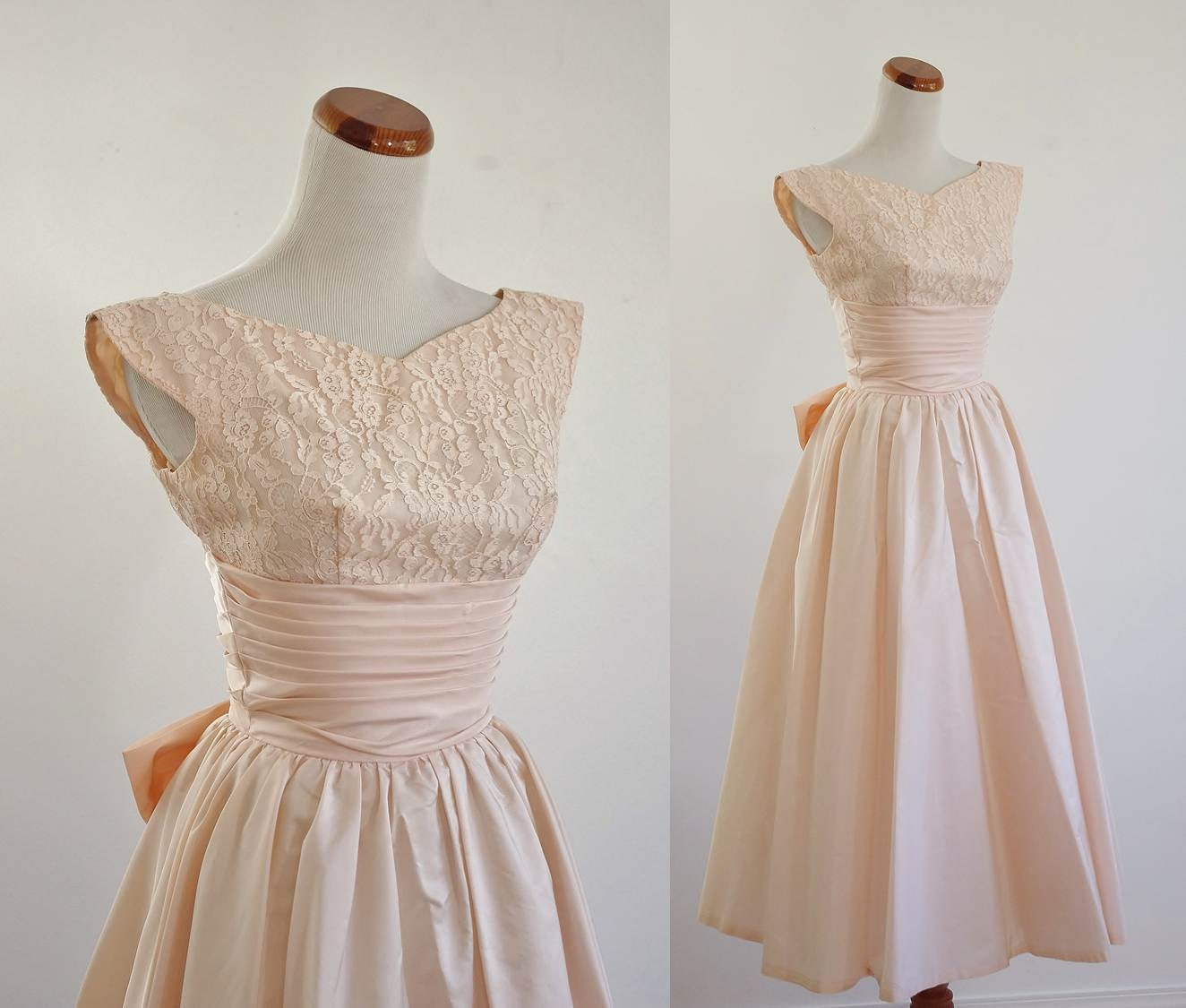 vintage 50s prom dress pale pink lace taffeta full skirt. Black Bedroom Furniture Sets. Home Design Ideas