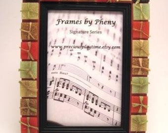 Picture Frame Mosaic FALL FROLIC on Rosewood for 4 x 6 Photo