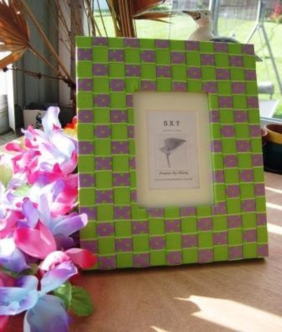 SPRING FLING Picture Frame 5 x 7 or Wall Mirror SASSY Lavender n Lime