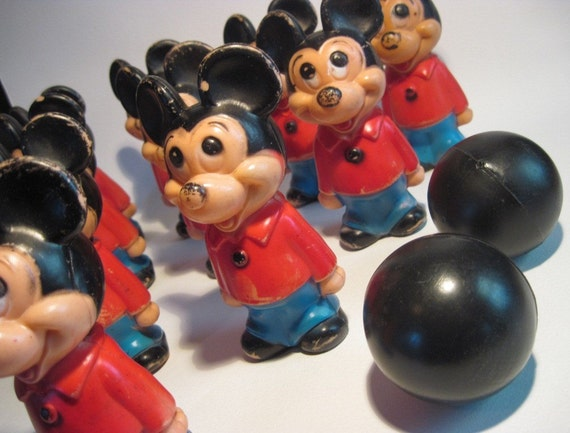 Vintage MICKEY MOUSE BOWLING SET - Family Game Night - Walt Disney