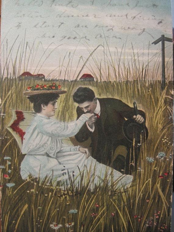 Antique Postcard 1907 Romantic Couple ... Nice Victorian / Edwardian Image  (Ref 10A)