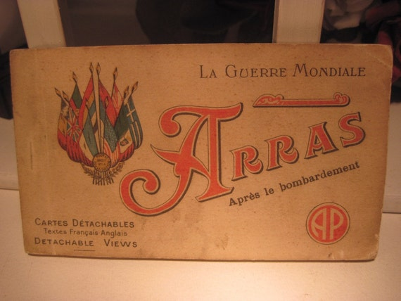 Antique French 20 Postcard Album -  La Guerre Mondiale ARRAS, France Cartes Detachables  WWI photos from 1914-1917