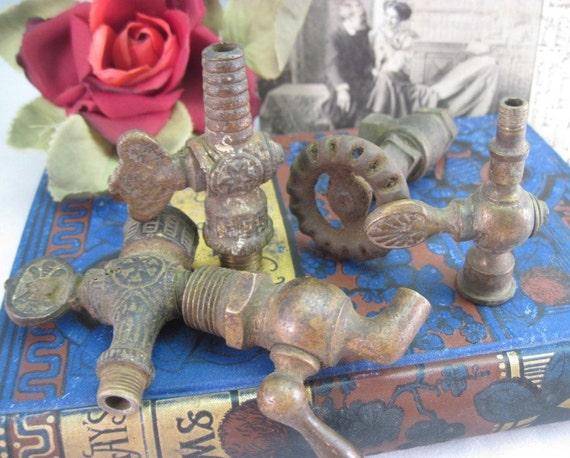 Antique Victorian Brass Gas Lamp Valve and Spigot Collection