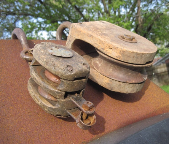 Antique Barn Pulley Pair - Wood Block and a Double