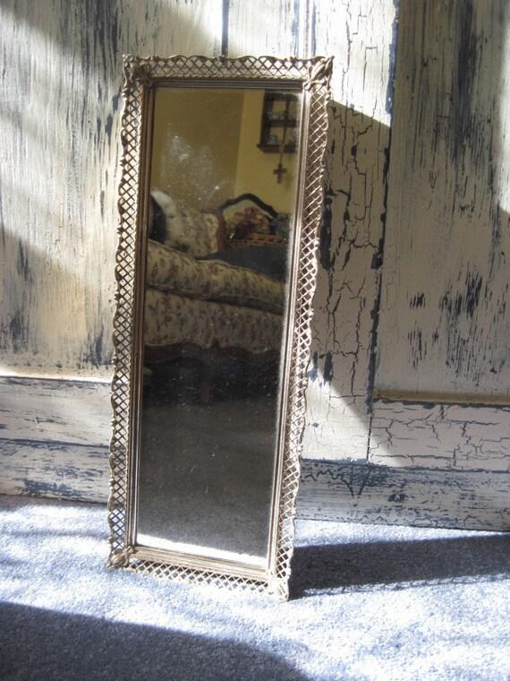 Vintage Filigree Mirror Vanity Tray or Wall Decor