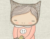 Wall Decor Kids - Elka Bear and the Birds -Cute Kids Illustration - Art Print 8x10