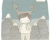 Baby Boy Nursery Art - Deer Boy - Mountains and Raindrops and Clouds Illustration - Blue version