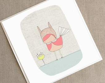 """Square Greeting Card - Pink Bunny Bird -  5.9 x 5.9 """" or 150x150 mm"""