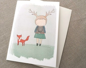 "Greeting Card -Deer Girl and Fox -  C6 greeting card 11w x 15.5 h cm (4.4x6.1"")."