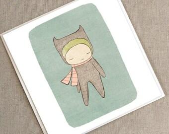 "Greeting Card -Bear Girl  -  5.9 x 5.9 "" or 150x150 mm"