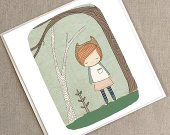 """Greeting Card -Lively in the Woods  -  5.9 x 5.9 """" or 150x150 mm"""