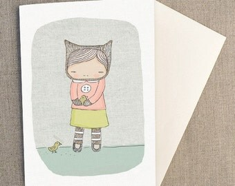 "Greeting Card -Elka Bear and The Birds -  C6 greeting card 11w x 15.5 h cm (4.4x6.1"")."