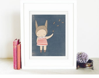 Etsy - Childrens Illustration - Bunny Rabbit Girl Stripes - Blue and Coral - Illustration