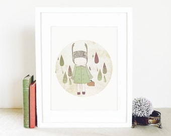 Kids Wall Decor - Deer Print Girl and Raindrops Illustration, light green, sage.